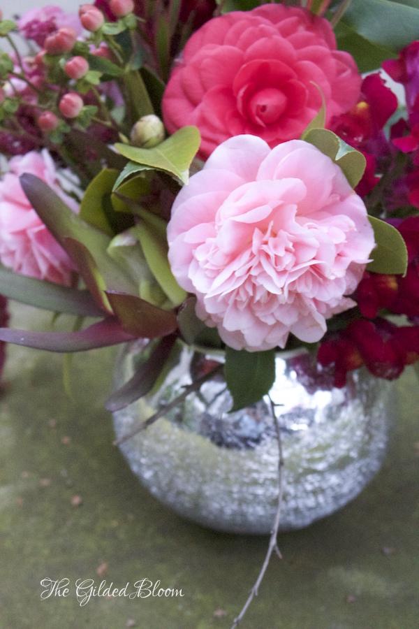 Pink Camellia Arrangement- www.gildedbloom.com