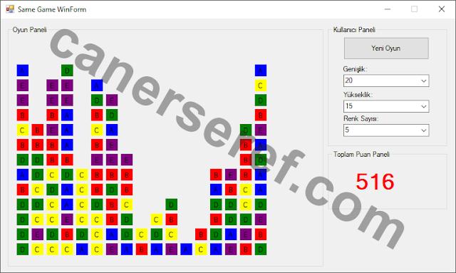 Same Game WinForm 5 Renkli 20 x 15, 300 Kareden Oluşan Ekranı