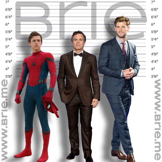 Mark Ruffalo height comparison with Tom Holland and Chris Hemsworth
