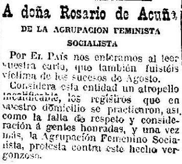 Fragmento del escrito dirigido por la Agrupación Feminista Socialista