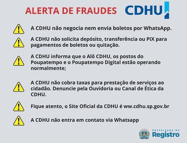 Alguns munícipes estão recebendo contatos via Whatsapp de pessoas se passando pela CDHU