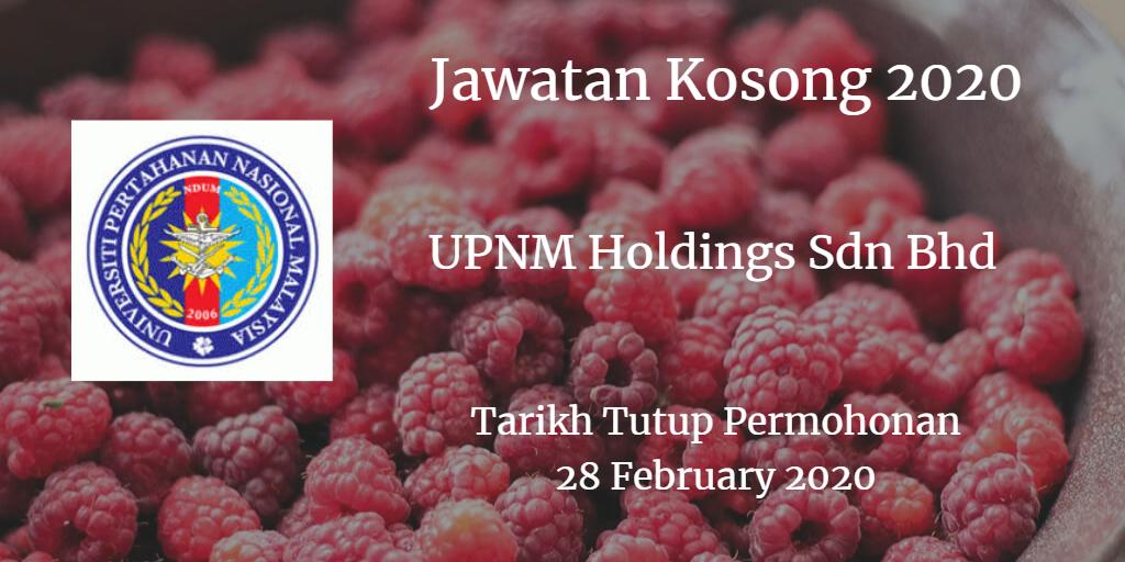 Jawatan Kosong UPNM Holdings Sdn Bhd 28 February 2020