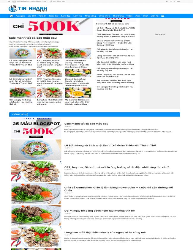 Template blogspot chia sẻ tin tức - báo chí - mẹo vặt