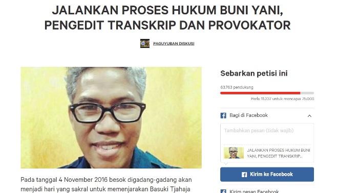 Petisi Proses Hukum Buni Yani Muncul, Sudah Ditandatangani Lebih dari 50 Ribu Orang