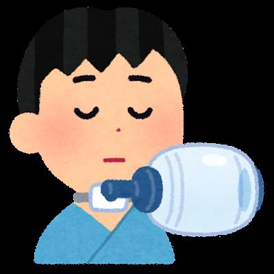 気管切開のイラスト(子供・バッグバルブマスク付き)