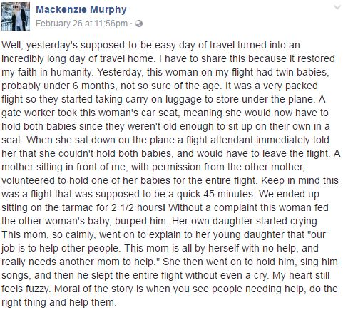 TOUCHING Story of a Stranger Who Offered to Take Care of Struggling Mother's Baby on Busy Flight! MUST READ!