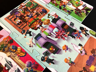 A close-up view of the departure lounge artwork from Overbooked.