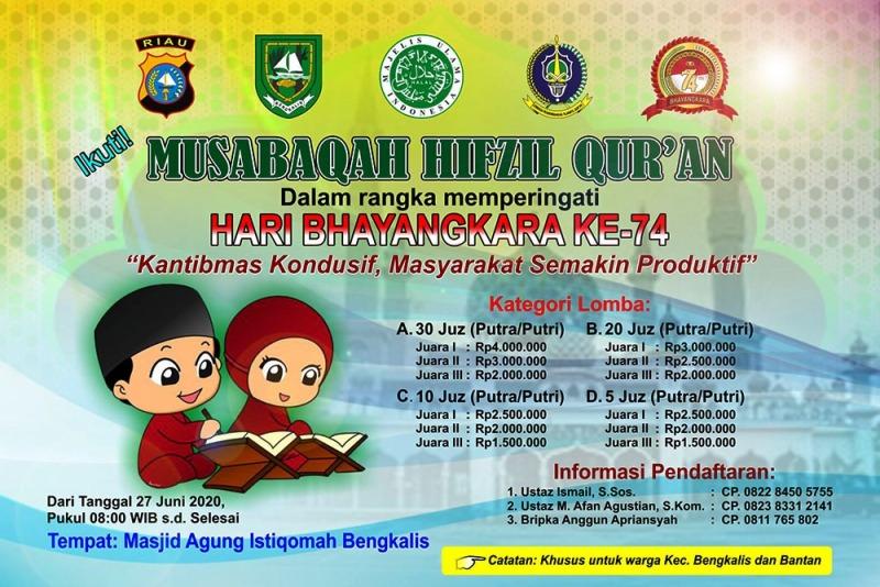 Sambut Hari Bhayangkara, Polres Bengkalis Selenggarakan Musabaqah Hifzil Quran