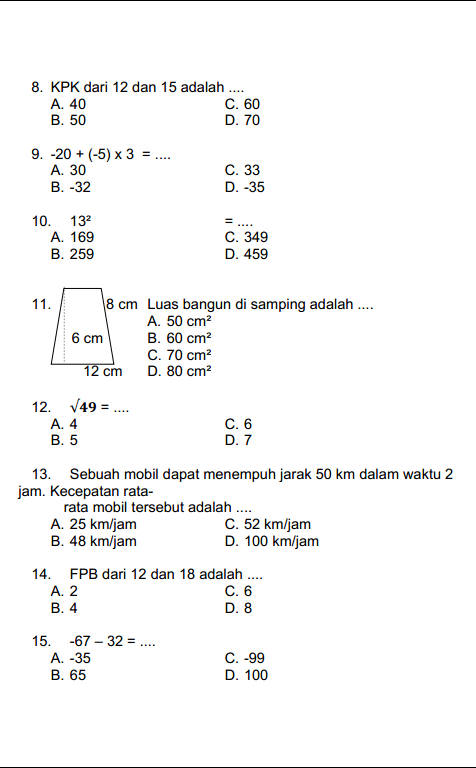 Latihan Soal OSN Matematika SD 2019 dan Penyelesaiannya #1