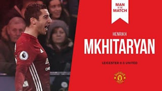 Mkhitaryan Man of the Match Leicester City vs Manchester United 0-3