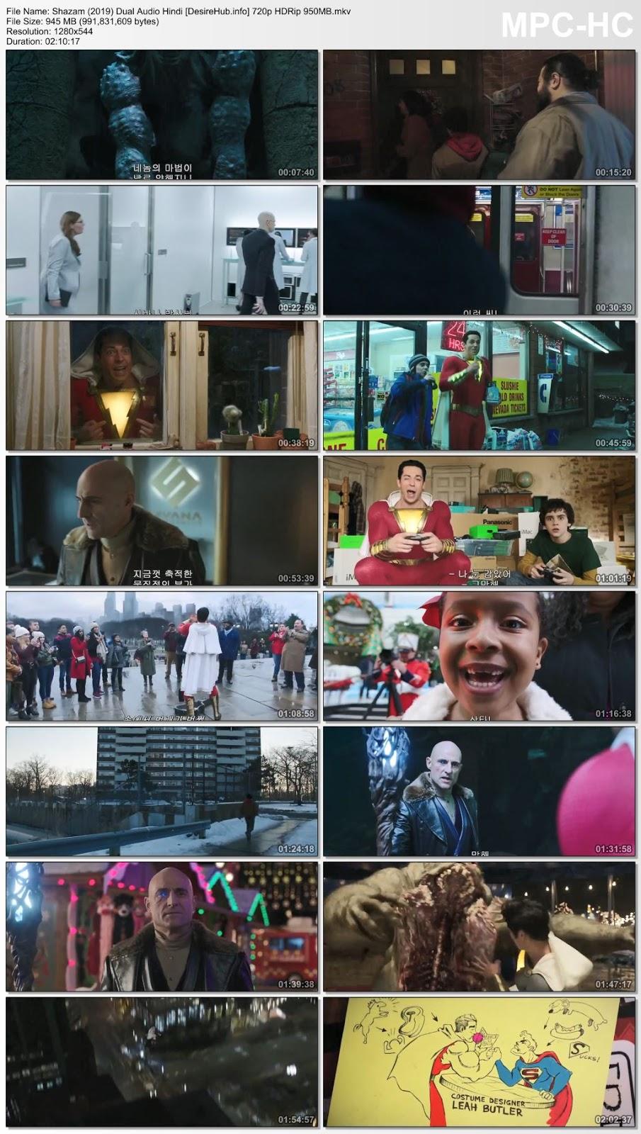 Shazam 2019 Dual Audio Hindi 480p HC HDRip 400MB Desirehub