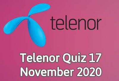 Telenor Quiz 17 November 2020 || Telenor Answers 17 nov 2020