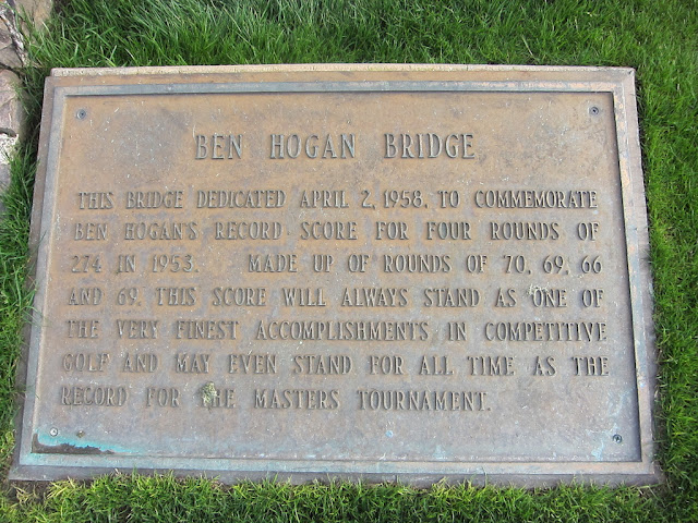Ben Hogan Bridge dedication plaque at Augusta National
