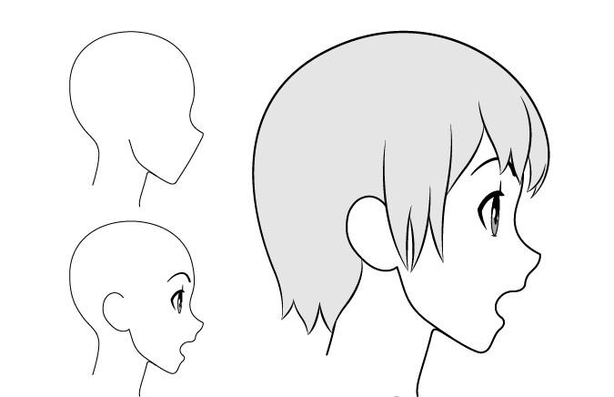 Gadis anime terkejut gambar tampilan samping