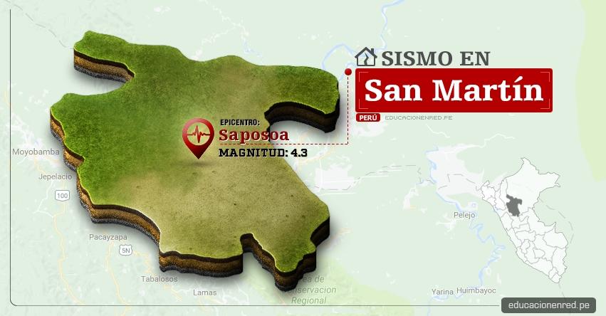 Temblor en San Martín de 4.3 Grados (Hoy Sábado 8 Abril 2017) Sismo EPICENTRO Saposoa - Huallaga - IGP - www.igp.gob.pe