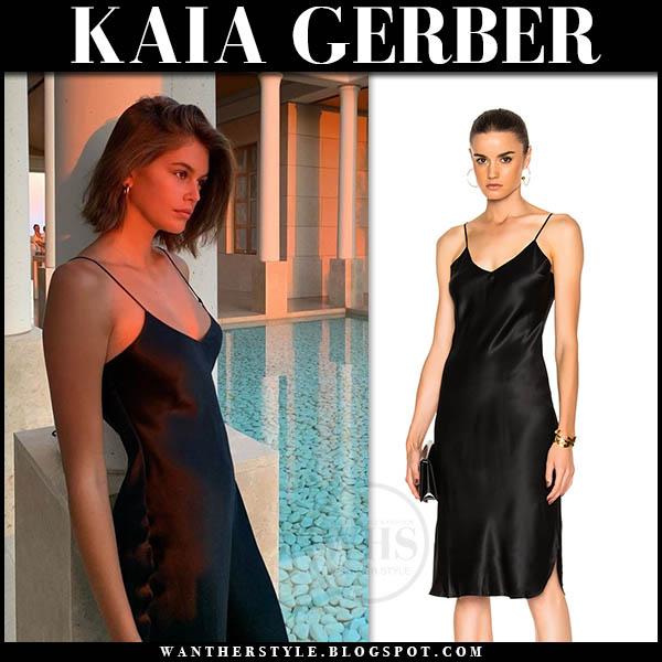 Kaia Gerber in black silk slip dress nili lotan. Model outfit august 13