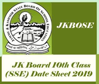 JK Board Date Sheet 2019, JK Board 10th Class Time table 2019, JKBOSE 10th Class Time table 2019