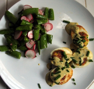 eggs Jeannette with sugar snap pea and radish salad