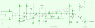 pe amp, skematik, rangkaian, amplifier, subwoofer, pre amp low pas filter,