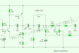 Rangkaian Skematik Pre Amp Low Pass Filter Subwoofer