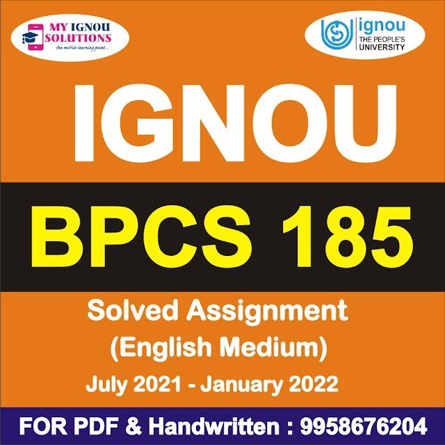 BPCS 185 Solved Assignment 2021-22
