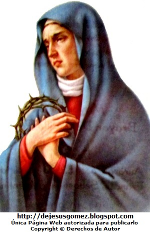 Imagen de la Virgen Dolorosa con una corona de espinas en la mano por Jesus Gómez