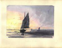 A water color painting of a Chinese junk on the ocean at sunset