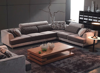 TOSH Furniture Modern Beige Fabric Sectional Sofa and Chair
