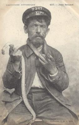 Jean Serpent, chasseur de vipères de Clermont-Ferrand.