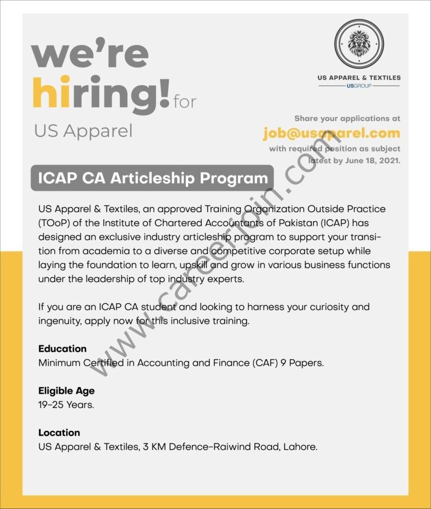 job@usaparel.com - US Group ICAP CA Articleship Program 2021 in Pakistan