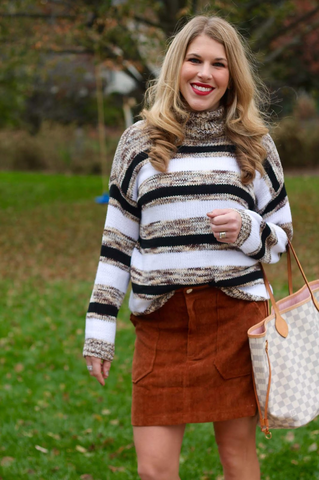 brown corduroy skirt, snakeskin mules, jeweled mules, brown striped turtleneck, camel fedora, LV Neverfull, green striped sweater, white jeans, white fleece, olive pants, snakeskin booties, navy striped top