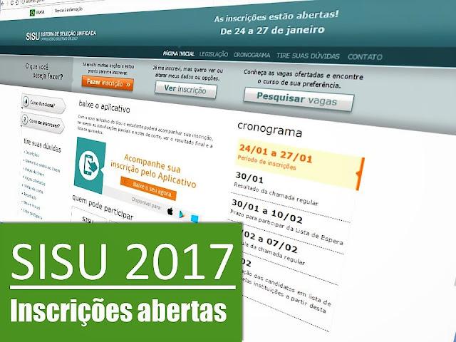 Inscrições abertas para SISU 2017