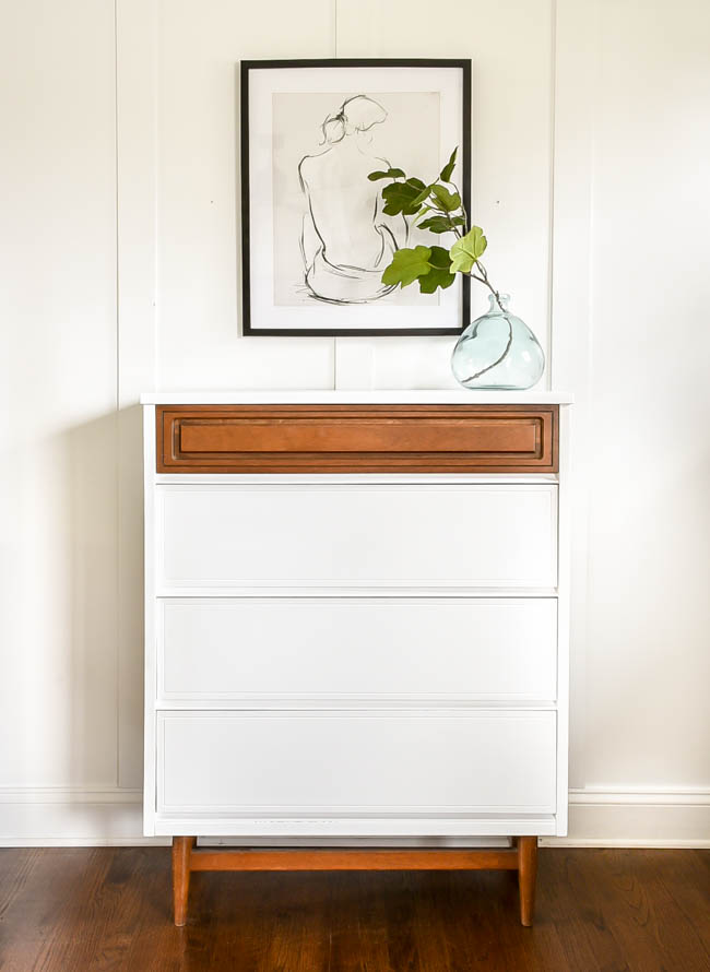 white and wood painted mcm dresser