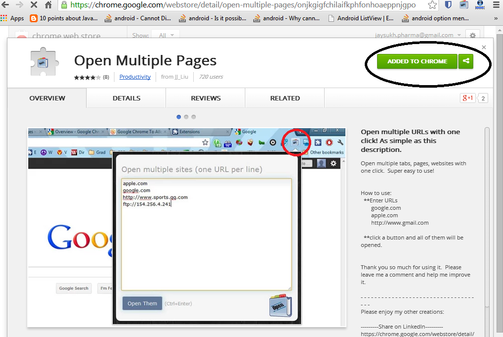 Multiple link open in chrome browser in one click step 1