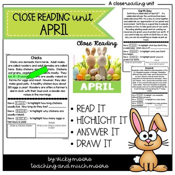 April Close Reading use with Seesaw