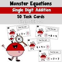 Addition Task Cards Single DIgit