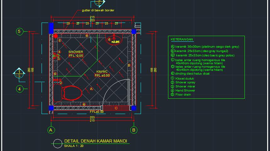 Detail Denah Kamar Mandi Contoh Gambar Autocad Dwg