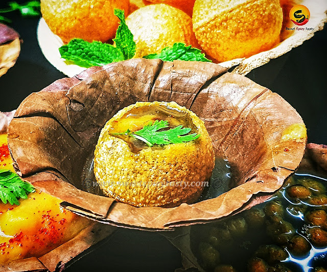 Pani Puri, Puchka , Golgappas , Gup Chup, Paani k Baatashe are all different names for the same street food snack. These are very popular all over India and are known by various names and vary slightly in taste depending on the Paani ( spiced flavor water) that is used to fill in the small puris .