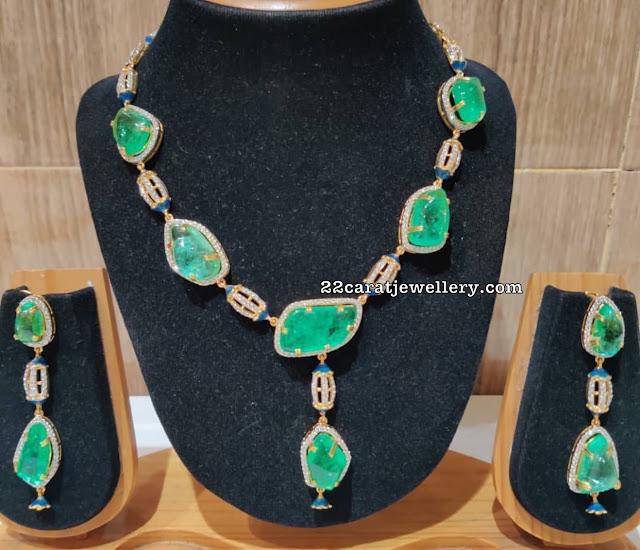 Heavy Emerald Necklace Earrings