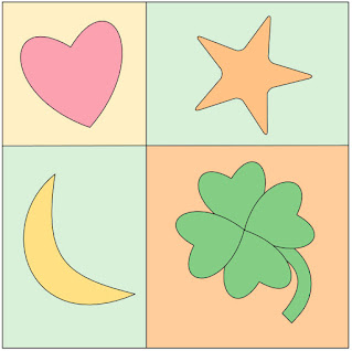 heart star moon clover on a four patch quilt block