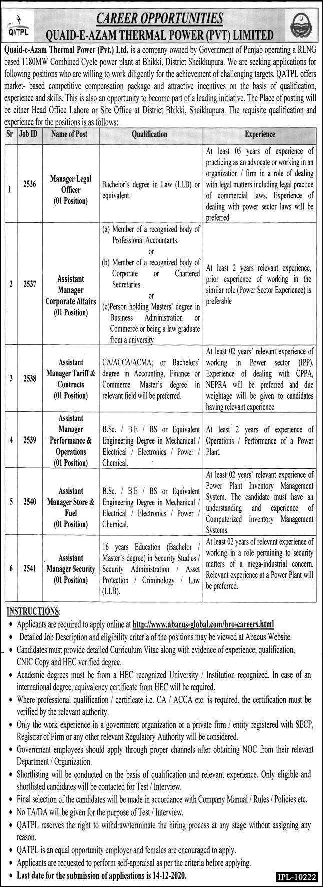 Latest Quaid-e-Azam Thermal Power Jobs
