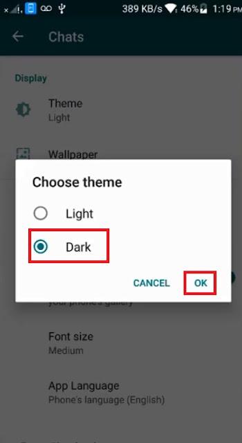 تفعيل Dark Mode الوضع المظلم الواتساب اندرويد وايفون تحديث رسمي الوضع الليلي whatsapp