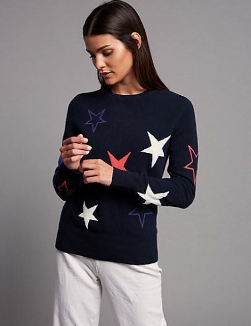 marks and spencer pure cashmere star long sleeve jumper