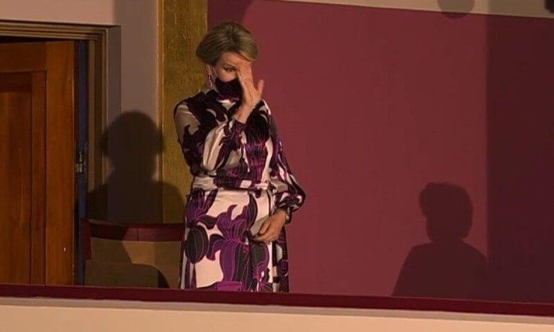 Queen Mathilde wore a new floral long sleeve silk dress from Dries van Noten