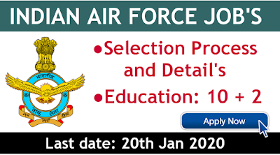 Indian Air Force job's 12th pass recruitment process and fulfillment