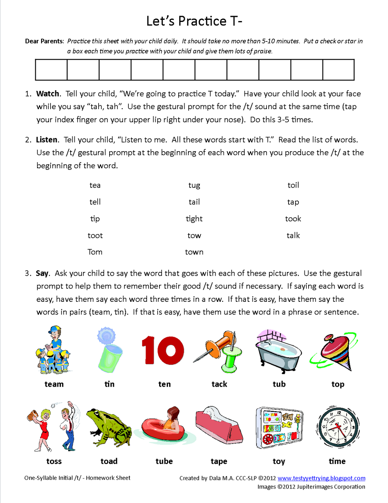 Testy Yet Trying Initial T Homework Sheet Free Speech Therapy Articulation Worksheet