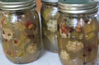 sliced pickled okra