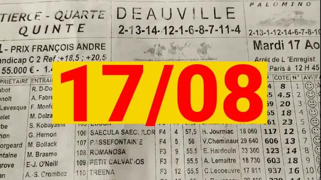 programme quinté+ Pronostic quinté mardi 17/08/2021