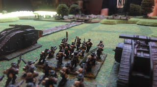 British infantry and Tanks on the start line