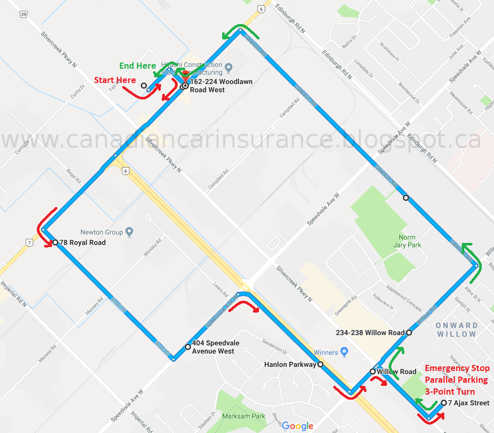 Guelph G Road Test Route Maps